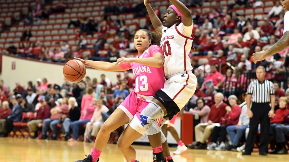 Sophomore guard Jaelynn Penn drives to the basket Feb. 18 during the game against Rutgers in Simon Skjodt Assembly Hall. IU lost to the University of Oregon on March 24 during the second round of the NCAA Tournament, 68-51.