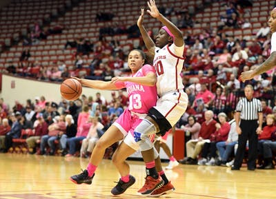 Sophomore guard Jaelynn Penn drives to the basket Feb. 18 during the game against Rutgers in Simon Skjodt Assembly Hall. IU lost to Oregon, 68-51.