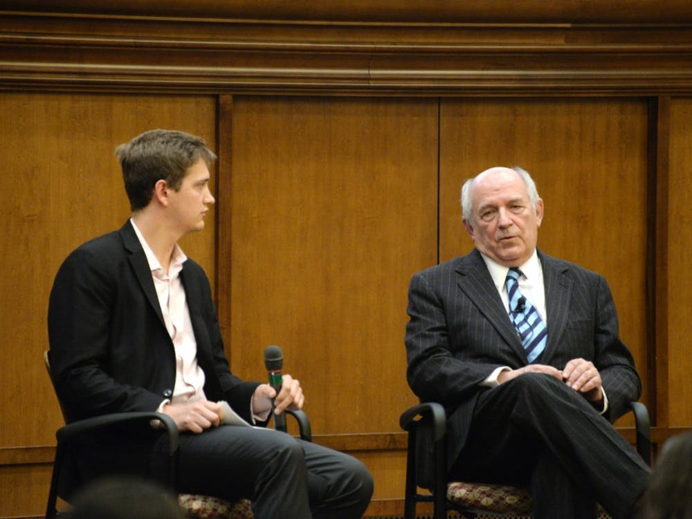 """Conservative social scientist Charles Murray gives a talk to students and faculty members at IU on Tuesday evening in Presidents Hall. Murray is known for his book """"The Bell Curve,"""" and his recent appearances at the University of Notre Dame, Middlebury College and other schools have led to protests and in some instances have led to physical violence."""
