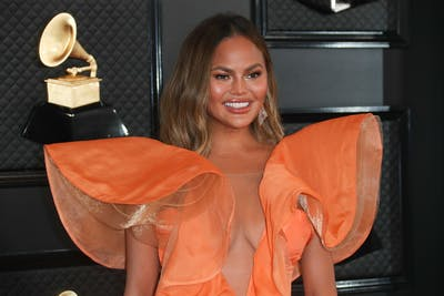 Chrissy Teigen arrives at the 62nd GRAMMY Awards on Jan. 26 at the STAPLES Center in Los Angeles.