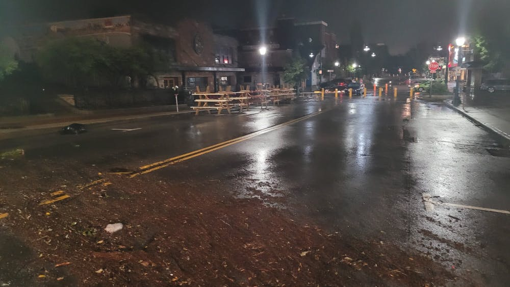 Kirkwood Ave littered with debris after flooding Friday night. The Monroe County Health Department released safety tips Saturday for residents affected by the floodwaters.