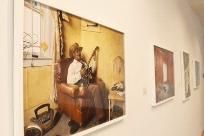 """Glemie Playing the Blues"" is one photograph of many in Dave Jordano's photographic series displayed Oct. 16 at the FAR Center for Contemporary Arts. Detroit native Jordano took photos of the Detroit community from 2010-2015 for his ""Detroit: Unbroken Down"" photography series."