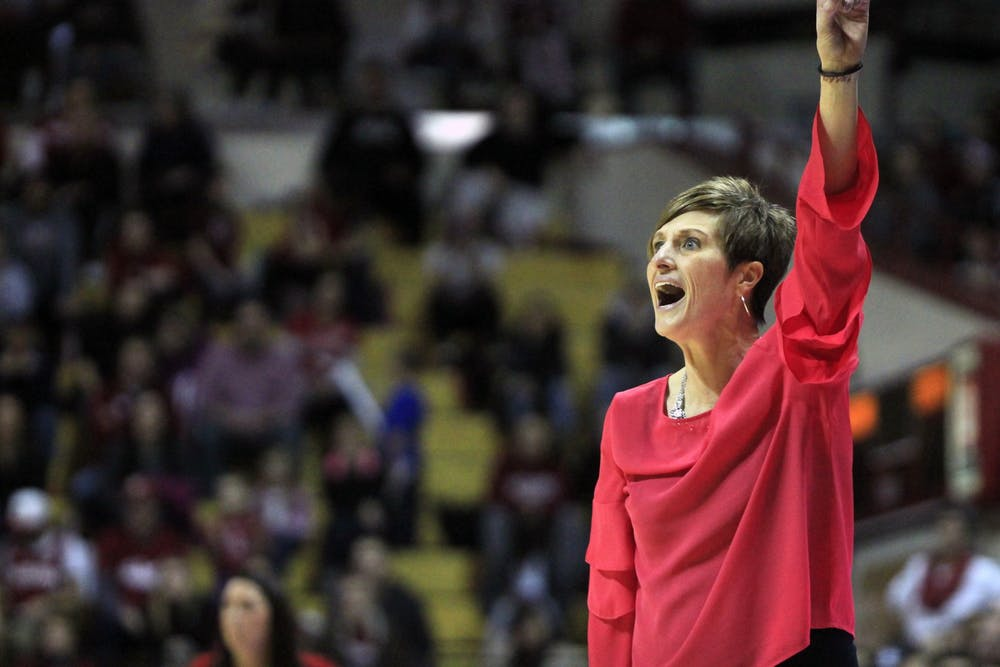 <p>IU women&#x27;s basketball Coach Teri Moren gives her team directions Feb. 17, 2018, in Simon Skjodt Assembly Hall.</p>