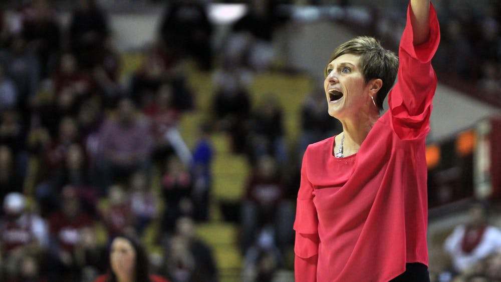 IU women's basketball Coach Teri Moren gives her team directions Feb. 17, 2018, in Simon Skjodt Assembly Hall.