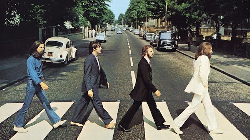 "The cover of The Beatles' ""Abbey Road"" album."