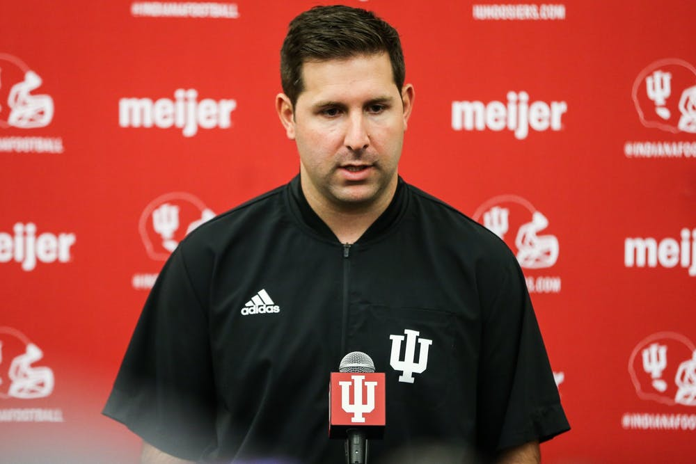 <p>Indiana offensive coordinator and quarterbacks coach Nick Sheridan during Media Day on Aug. 5, 2021. Sheridan said Indiana&#x27;s offense will cater to the strengths of whoever is starting at quarterback in future games.</p>