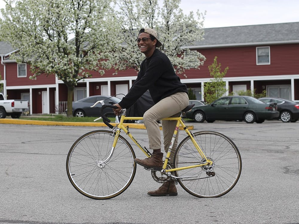 Roberto Ortiz, an online IU student, plans to ride his bike across the globe starting August. He's starting this journey in San Francisco.
