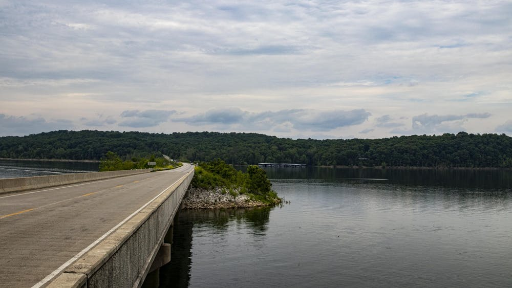 Indiana State Road 446 stands June 4 on Lake Monroe.