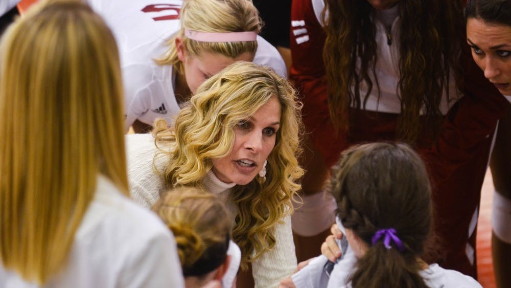 Former IU volleyball Coach Sherry Dunbar-Kruzan speaks to the IU team during a match in 2011. Dunbar-Kruzan was inducted into the Monroe County Hall of Fame on Friday.