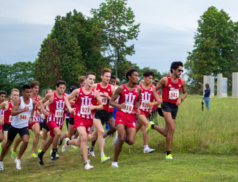 <p>IU men's cross country runs the 8k Sept. 4, 2021, at the IU Championship Cross Country Course. Sophomore Gabriel Sanchez was named the Big Ten Men's Cross Country Athlete of the Week.</p>