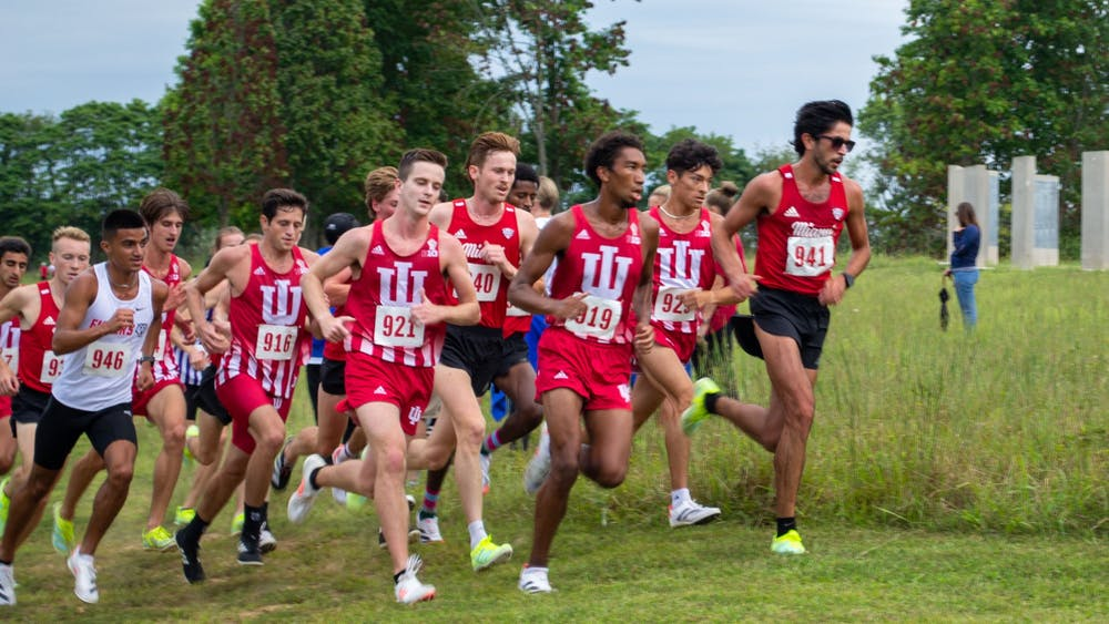 IU men's cross country runs the 8k Sept. 4, 2021, at the IU Championship Cross Country Course. Sophomore Gabriel Sanchez was named the Big Ten Men's Cross Country Athlete of the Week.