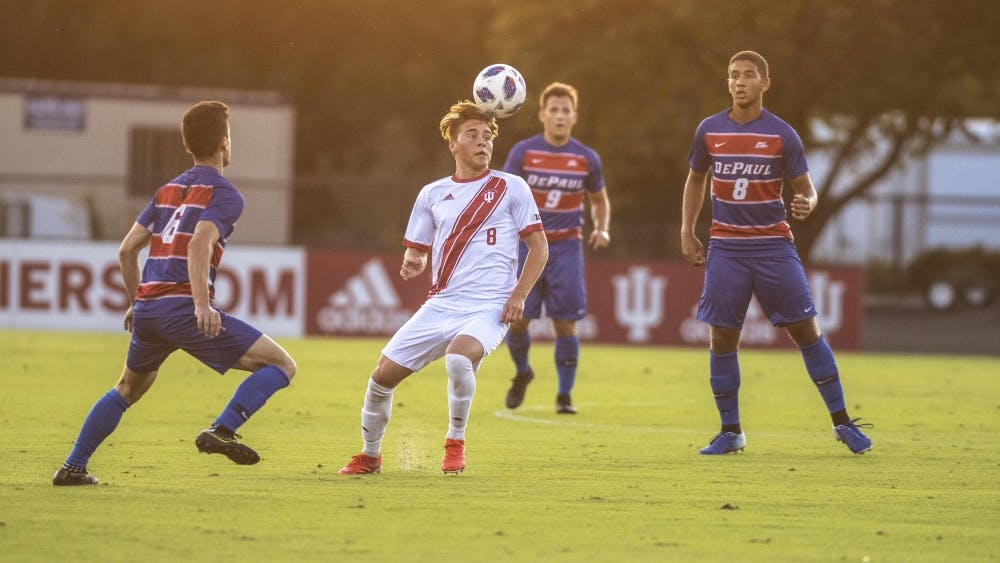 Freshman Aidan Morris tries to control the ball Aug. 24 at Bill Armstrong Stadium. All three of IU's victories so far this season have come in an overtime period.