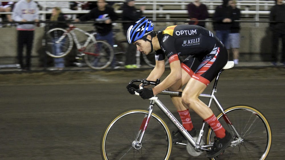 Nicholas Thiery of Cutters races during Little 500 Individual Time Trials on Wednesday night at Bill Armstrong Stadium. Thiery finished 6th overall with a time of 2:24.680.