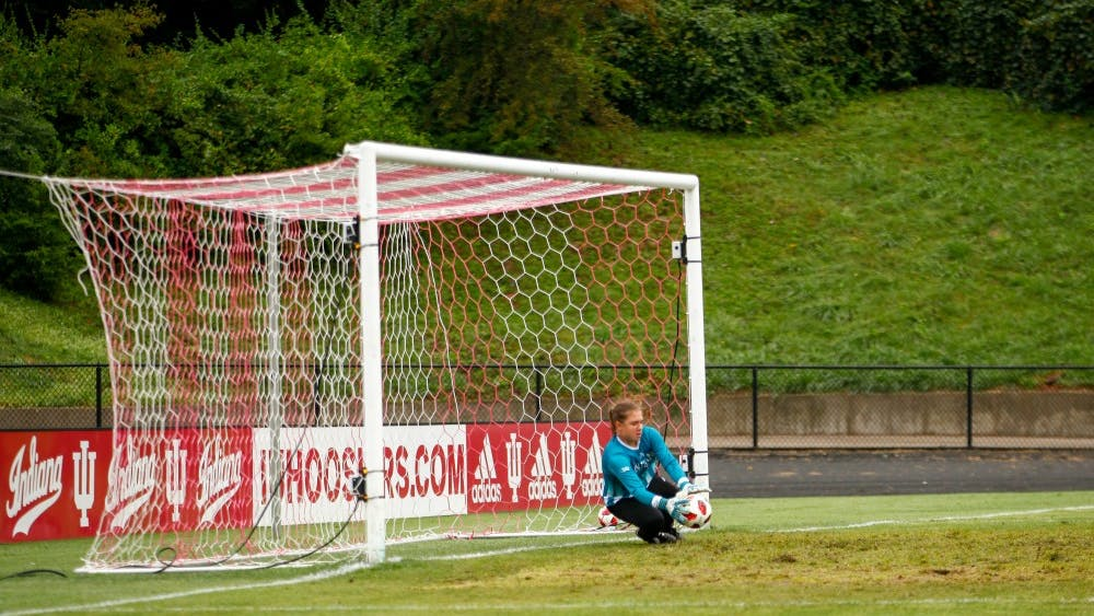 Sophomore Bethany Kopel blocks a shot against Kansas State on Sept. 9 at Bill Armstrong Stadium. The IU women's soccer team was defeated by Purdue on Saturday.