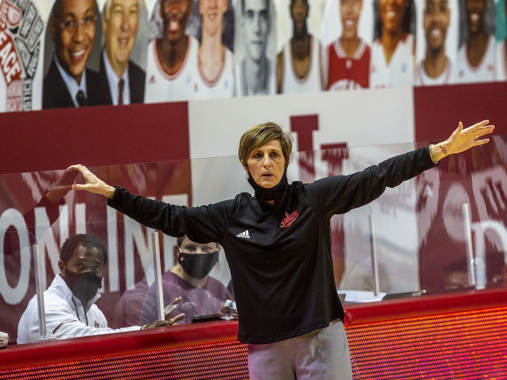 IU women's basketball head coach Teri Moren shouts from the sidelines Jan. 31 during a game against Michigan State in Simon Skjodt Assembly Hall. Moren agreed to a new contract Thursday that will keep her in Bloomington through the 2026-27 season.