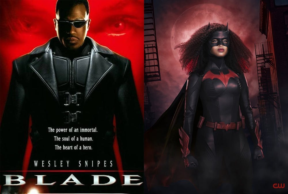 <p>Wesley Snipes poses for the poster of the 1998 film &quot;Blade&quot; on the left, while Javicia Leslie is shown in her Batwoman costume for season 2 of the CW show &quot;Batwoman&quot; on the right. Leslie is the first Black woman to portray the character in live action. </p>
