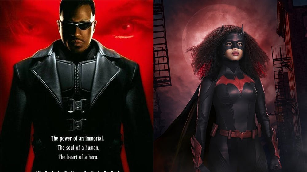 "Wesley Snipes poses for the poster of the 1998 film ""Blade"" on the left, while Javicia Leslie is shown in her Batwoman costume for season 2 of the CW show ""Batwoman"" on the right. Leslie is the first Black woman to portray the character in live action."