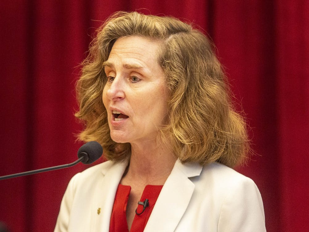 IU President-Elect Pamela Whitten speaks April 16 in Neal Marshall Grand Hall. A survey was created by IU faculty to gauge interests and concerns people want new IU President Pamela Whitten to focus on when she takes office Thursday.