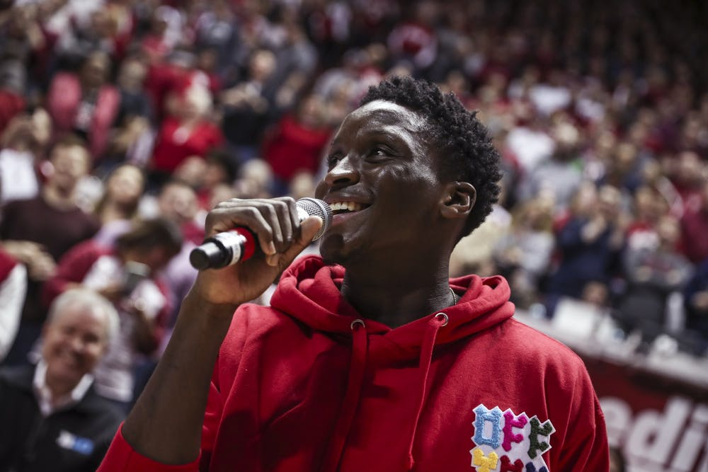 <p>Former Indiana player Victor Oladipo speaks to the crowd after getting recognized prior to the Hoosiers&#x27; game against the Purdue Boilermakers onFeb. 11, 2018, at Simon Skjodt Assembly Hall in Bloomington, Indiana. It was Oladipo&#x27;s first time back since his career ended with Indiana.</p>