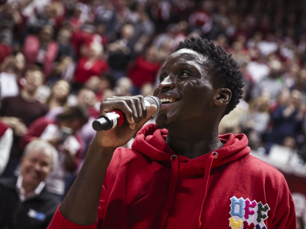 Former Indiana player Victor Oladipo speaks to the crowd after getting recognized prior to the Hoosiers' game against the Purdue Boilermakers onFeb. 11, 2018, at Simon Skjodt Assembly Hall in Bloomington, Indiana. It was Oladipo's first time back since his career ended with Indiana.