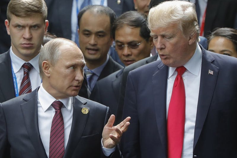 Russian President Vladimir Putin and President Trump talk during a session of world leaders at the 25th Asia-Pacific Economic Cooperation Summit on Nov. 11, 2017, in Vietnam. In early March 2018, Russia was accused of poisoning a former Russian spy on British soil. Many countries have expelled Russian diplomats from there countries and Russia has retaliated by expelling 60 U.S. diplomats and closing the U.S. consulate in St. Petersburg, Russia.