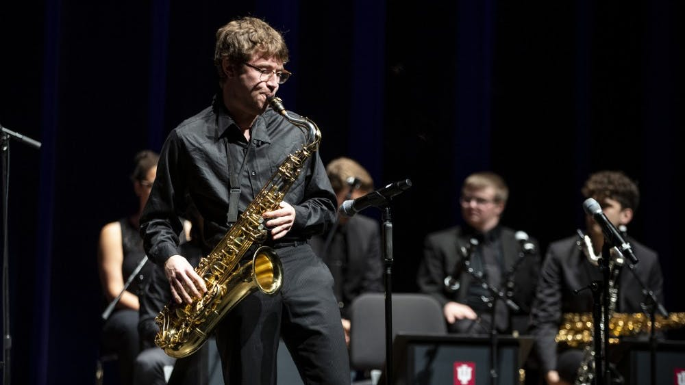 Robert Stevens performs a solo on his tenor saxophone Oct. 21 at the Musical Arts Center. Stevens performed in John Raymond's Jazz Ensemble.