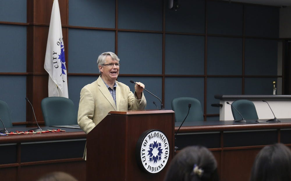 John Hamilton, Mayor of Bloomington presents a speech during the Commision on Hispanic and Latino Affairs Awards Ceremony Wednesday evening at City Hall.
