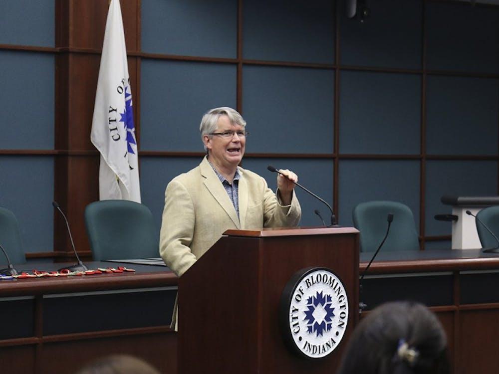 John Hamilton, Mayor of Bloomington presents a speech during the Commision on Hispanic and Latino Affairs Awards Ceremony Wednesday evening at City Hall.