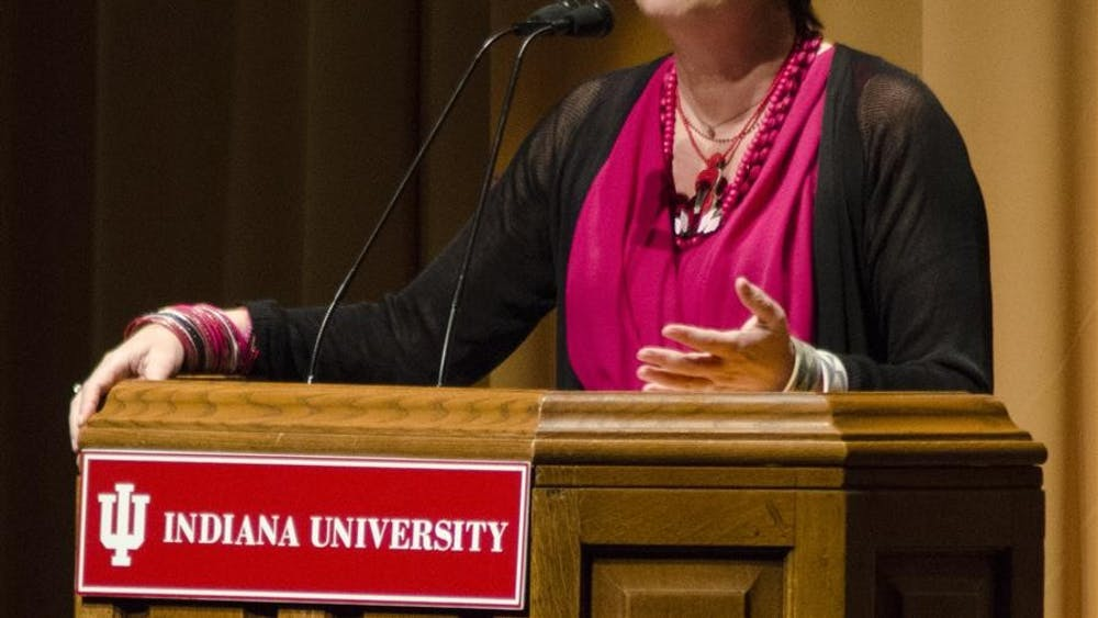 Tony Award-winning playwright, author of The Vagina Monologues, Eve Ensler talks about her travels around the world and research on the emancipation of women at the IU Auditorium on Thursday night.