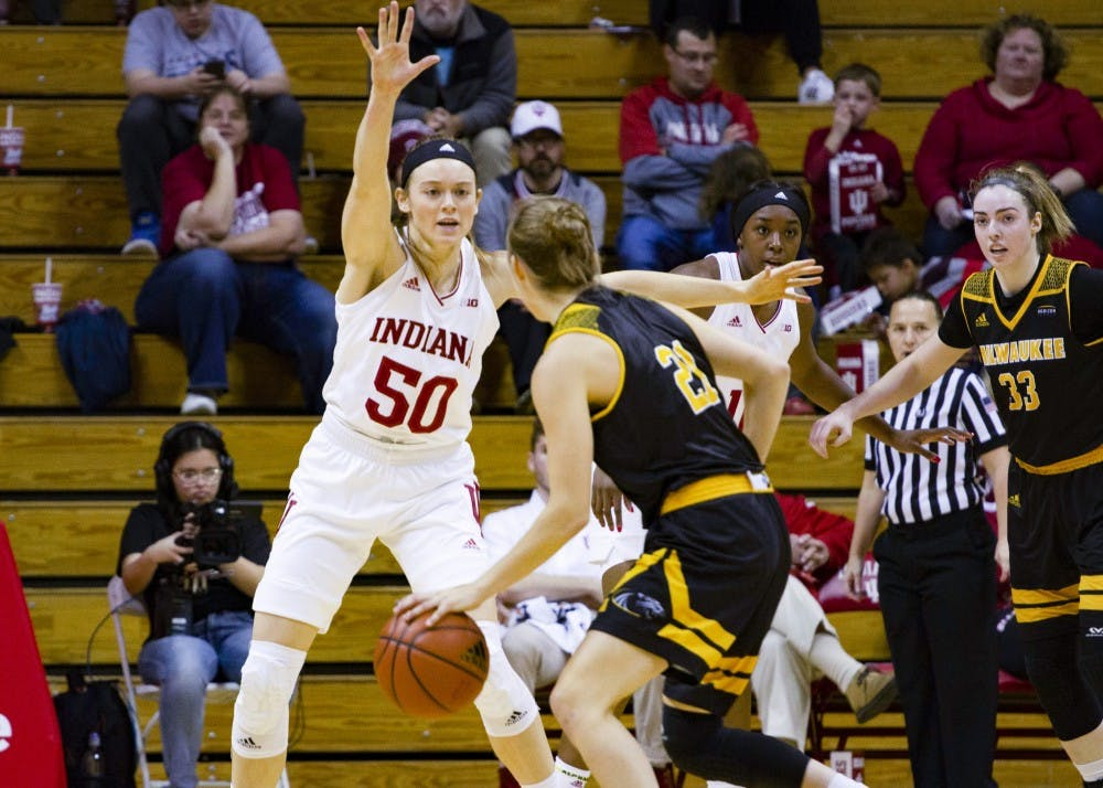 <p>Junior forward Brenna Wise defends a player during the game against Milwaukee on Nov. 7 at Simon Skjodt Assembly Hall. Wise was the top scorer of the game with 17 points.&nbsp;</p>
