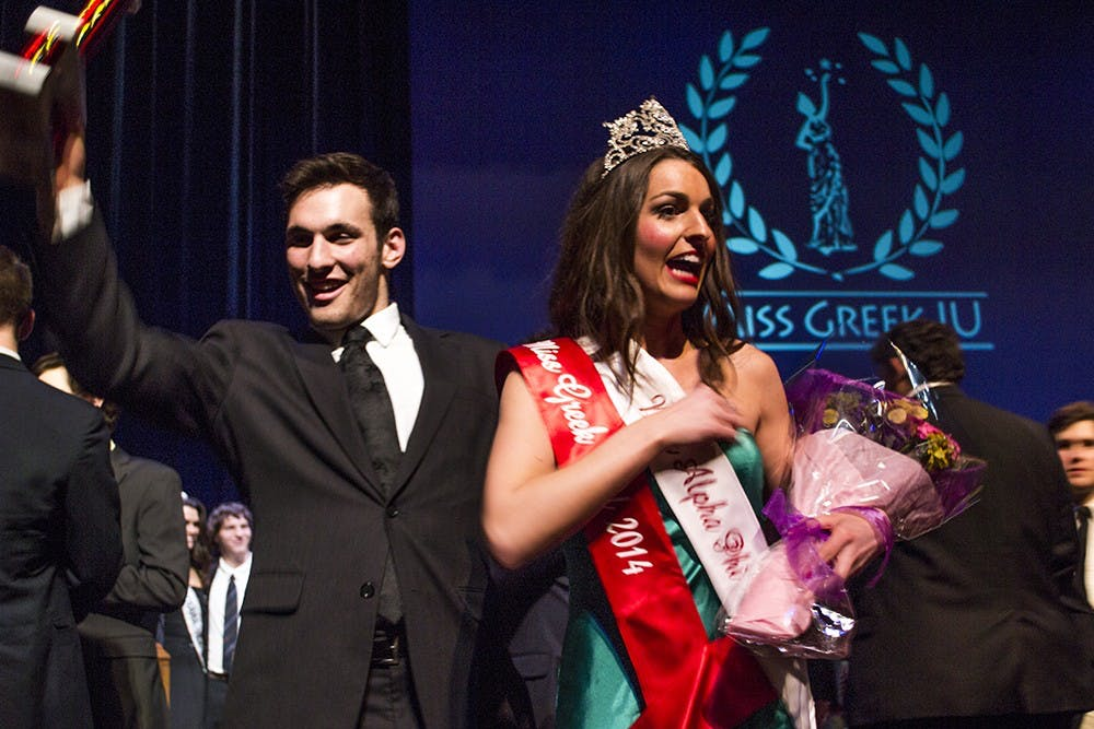 Natalie Lorenzano of Alpha Phi was crowned Miss Greek IU 2014 at the IU Auditorium on March 9, 2014. The 2015 Miss Greek IU Pageant will be March 29.