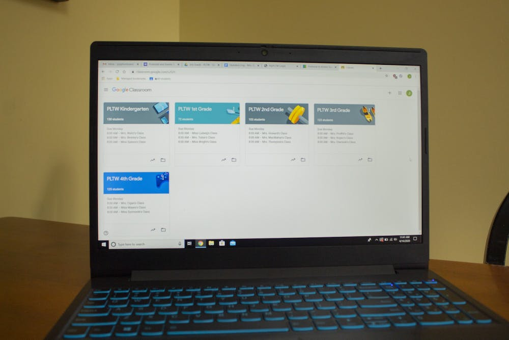 <p>The Google Classroom page for a Project Lead the Way teacher is displayed on a laptop. K-12 schools will continue e-learning through the end of the school year due to the COVID-19 pandemic.</p>