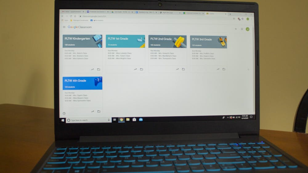 The Google Classroom page for a Project Lead the Way teacher is displayed on a laptop. K-12 schools will continue e-learning through the end of the school year due to the COVID-19 pandemic.