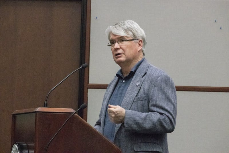 Mayor John Hamilton speaks April 3 at a Bloomington City Council meeting in City Hall.A bill requiring majority approval from residents and businesses in proposed annexed areas before annexation can begin was approved last month by the Indiana Senate.