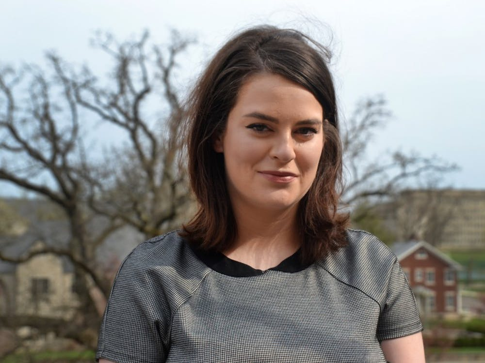 """Senior Riley Dismore stands April 10 outside the Indiana Memorial Union. Her film """"Rolling,"""" which was inspired by a sexual assault she experienced, will be shown at Cannes Film Festival in May."""