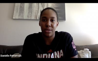 A screenshot shows junior guard Danielle Patterson speak during IU women's basketball media day. After transferring from the University of Notre Dame and sitting out the 2019-20 season due to NCAA transfer rules, Patterson is ready to take the court for the Hoosiers.