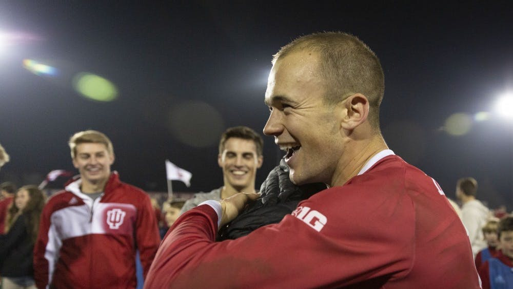 Senior defender Andrew Gutman celebrates after IU's quarterfinal NCAA Tournament game against Notre Dame on Nov. 30, 2018, at Bill Armstrong Stadium. Gutman recently signed a three-and-a-half-year contract with Celtic FC.