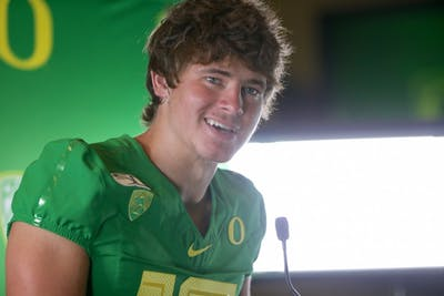 Senior quarterback for the University of Oregon Justin Herbert speaks to reporters Aug. 31 in Arlington, Texas. Oregon lost to Auburn University on Saturday, 21-27.