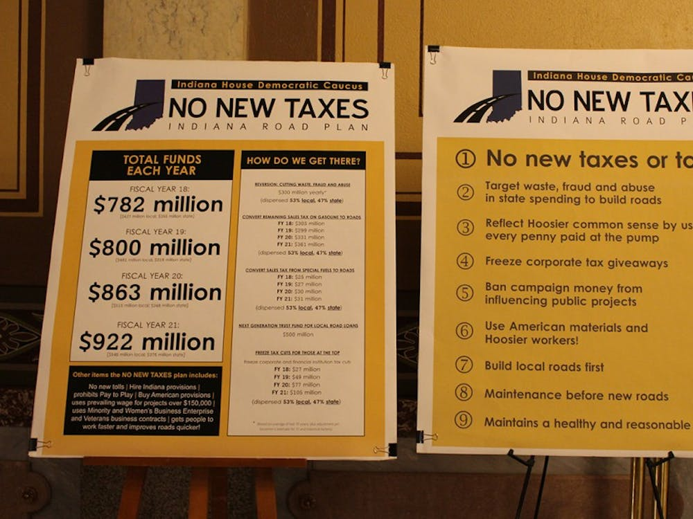 Posters in the Indiana Statehouse advocating for no new taxes for Indiana infrastructure. A bill that would raise gas and diesel taxes for infrastructure funds passed a state senate committee Tuesday.