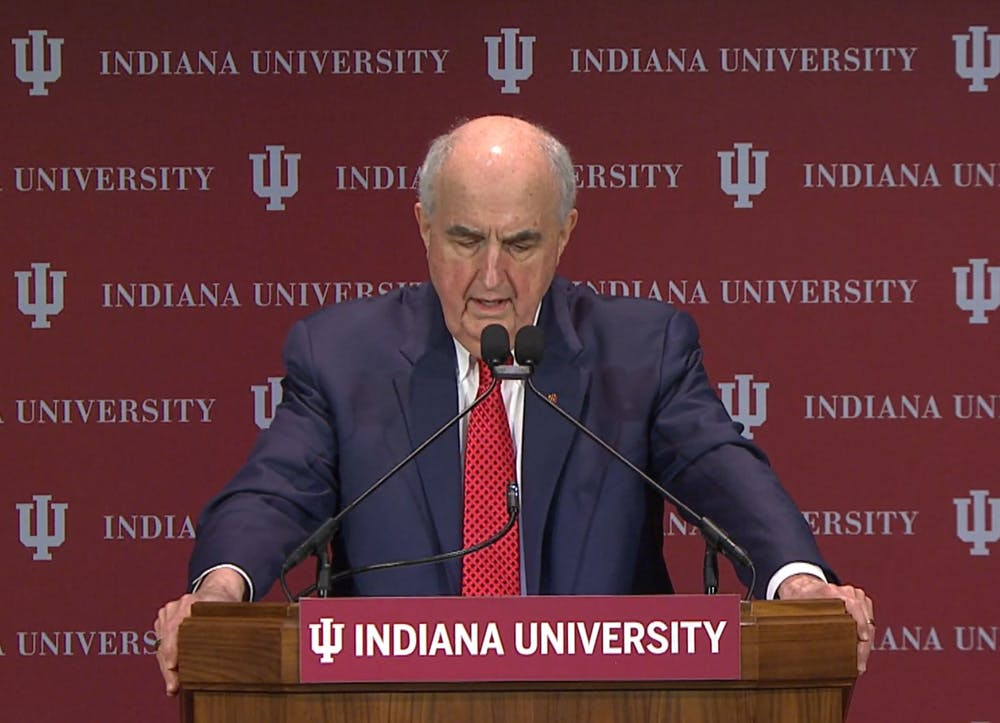 <p>IU President Michael McRobbie delivers the State of the University Address over Zoom on Tuesday in President&#x27;s Hall. Pamela Whitten will take over as president July 1. </p>