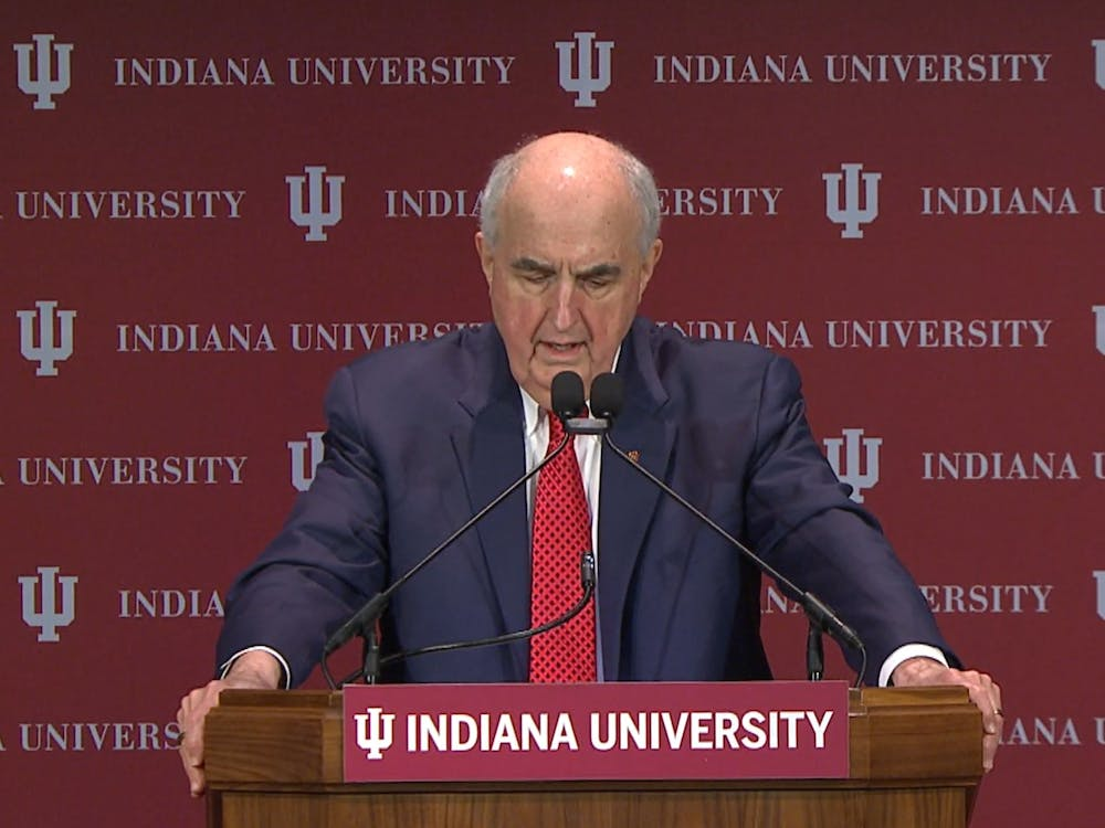 IU President Michael McRobbie delivers the State of the University Address over Zoom on Tuesday in President's Hall. Pamela Whitten will take over as president July 1.