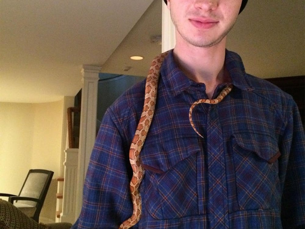 Aaron Holme with his corn snake Gatsby. Holme died March 4 in Bloomington.
