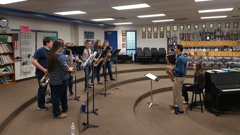 The Jacobs School of Music student-run organization Classical Connections leads a workshop for high school students in April 2019, at Brown County High School. Classical Connections used to put on concerts for local retirement homes in person, but now the concerts occur over Zoom.