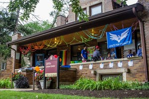 Streamers, a pride flag and the official crest of Scouts for Equality is pictured July 31 outside the LGBTQ+ Culture Center. The Boy Scouts of America ended its ban against openly gay members in May 2013. The ban had previously been in place since 1978.