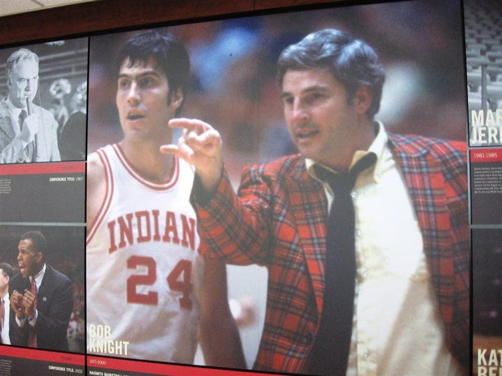 A photo of Bob Knight stands out among other photos on the Coaches Display on the second floor of Pfau Shine Legacy Court at Cook Hall.