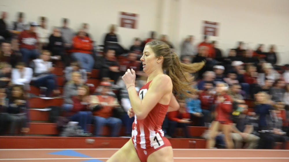 Kelsey Harris runs in the women's 800-meter run Jan. 26 at the IU Relays at Gladstein Fieldhouse. Harris would win the event.