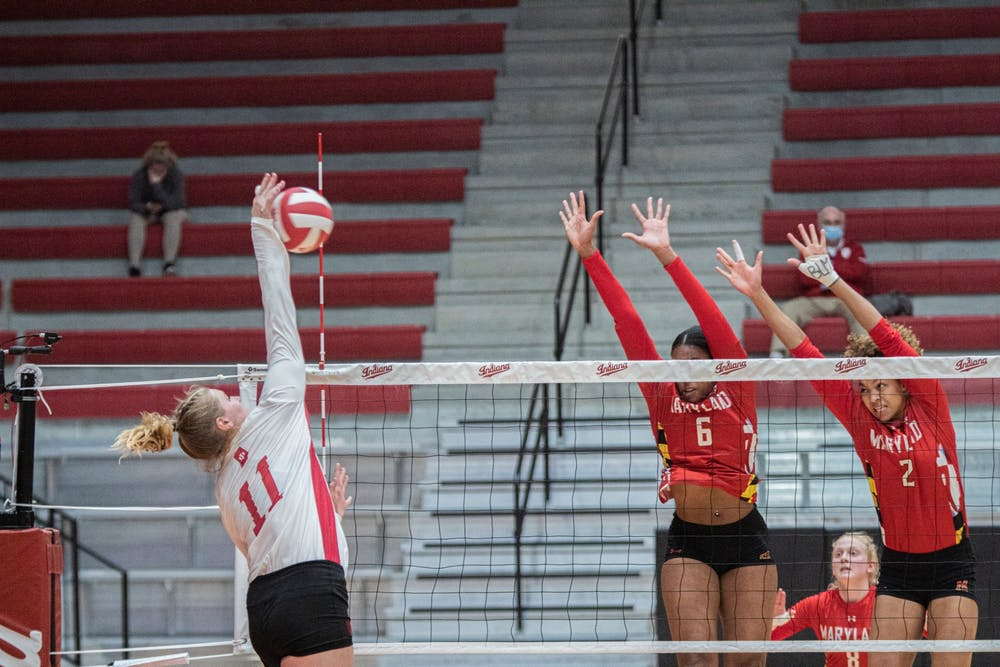 <p>Junior outside hitter Breana Edwards spikes the ball March 6 in Wilkinson Hall. The Hoosiers will play two matches against Illinois this weekend in Champaign, Illinois. </p>