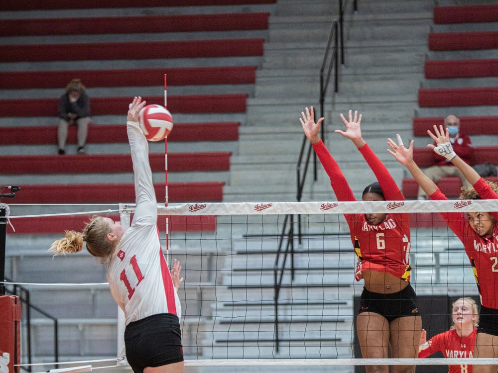 Junior outside hitter Breana Edwards spikes the ball March 6 in Wilkinson Hall. The Hoosiers will play two matches against Illinois this weekend in Champaign, Illinois.