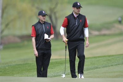 IU men's golf Assistant Coach Corey Ziedonis and junior Evan Gaesser attend the Big Ten Men's Golf Tournament on April 27, 2018. IU participated in the Redhawk Invitational on April 1-2 in University Place, Washington.