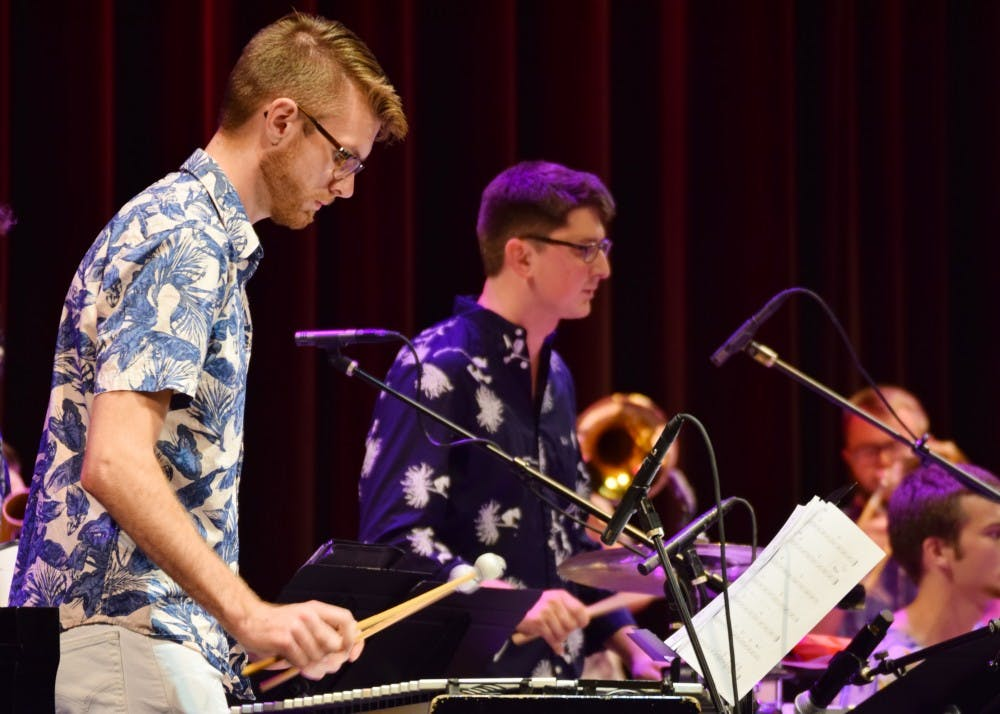 <p>The Latin Jazz Ensemble's rhythm section keeps the group in time during their performance. The 10 members of the ensemble performed at the Buskirk-Chumley Theater Oct. 9 along with Soneros la Caliza.</p>